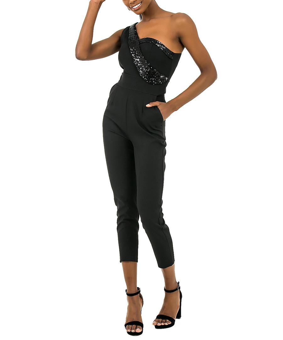 Black one-shoulder jumpsuit Sale - zibi london
