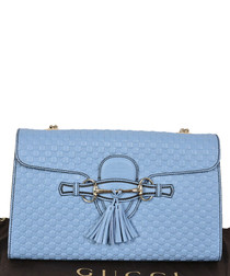 Guccissima Emily blue leather crossbody