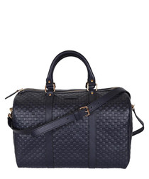 Guccissima navy leather boston grab bag