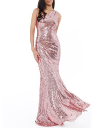 Rose shimmer fitted maxi dress