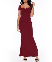 burgundy sleeveless fluted maxi dress