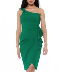 jade ruched one-shouder mini dress