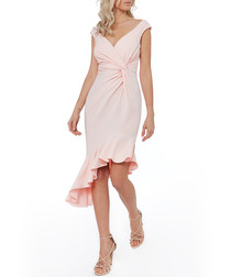 pale pink ruffle tie dress