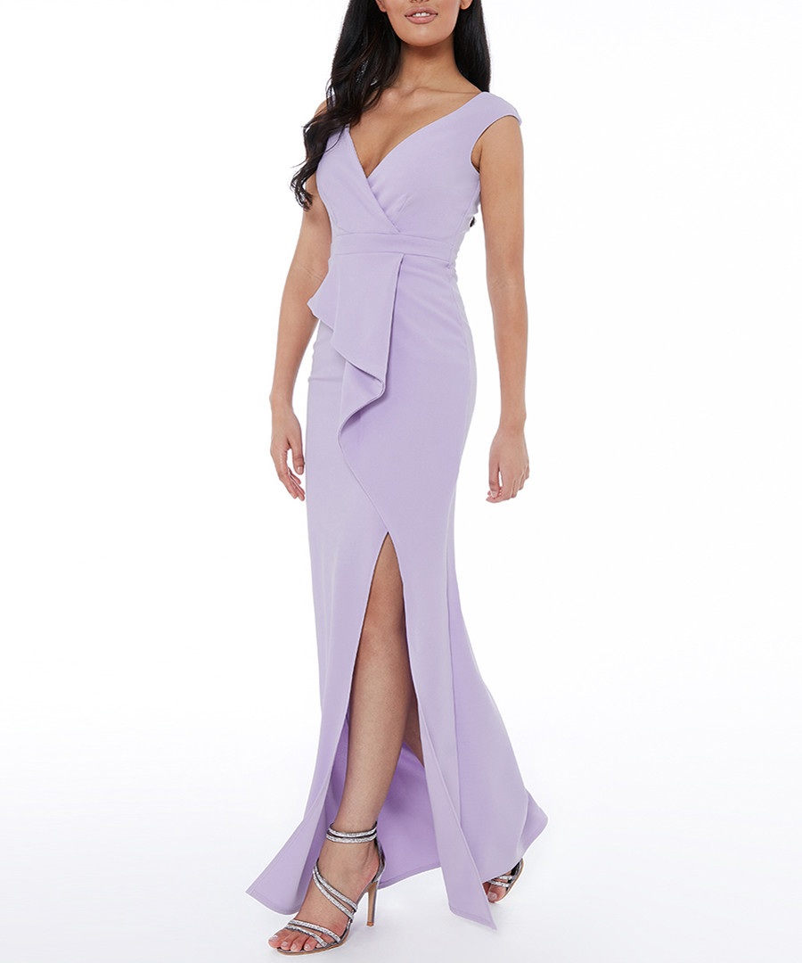 lilac ruffle split maxi dress Sale - goddiva
