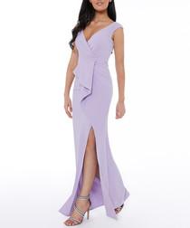 lilac ruffle split maxi dress