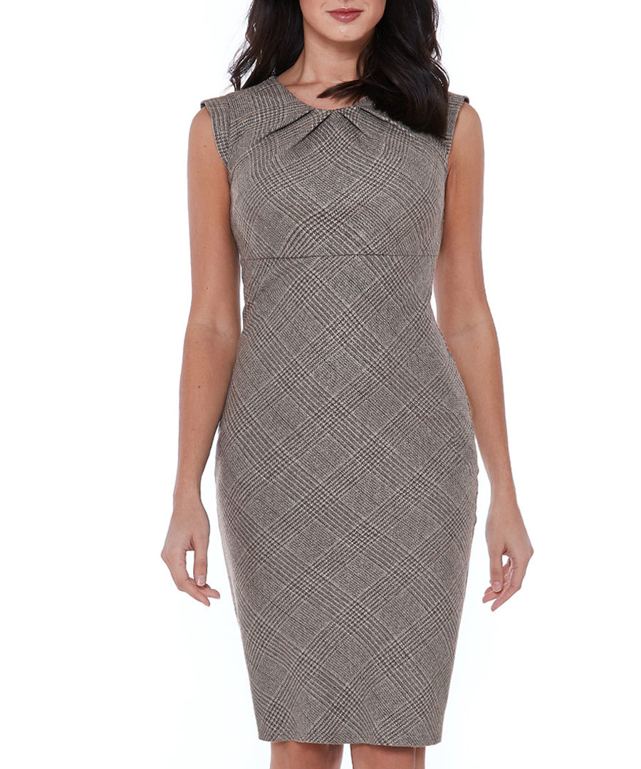 grey checked sleeveless dress Sale - goddiva