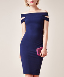 navy bodycon bardot dress