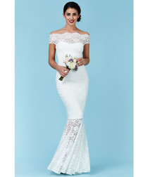 White lace fluted bridal dress
