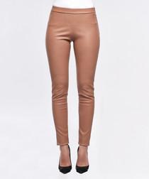 Beige leather leggings