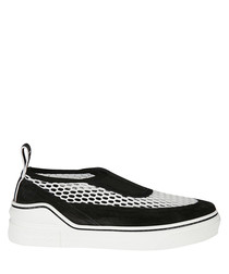 Black & white mesh & suede sneakers