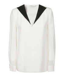 White & black pure silk contrast top