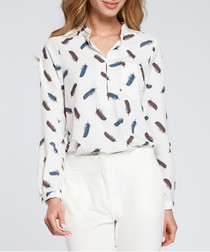 Chalk & navy feather button blouse