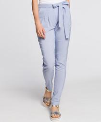 Pale blue waist-tie trousers