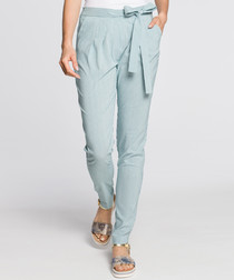 Sage waist-tie trousers