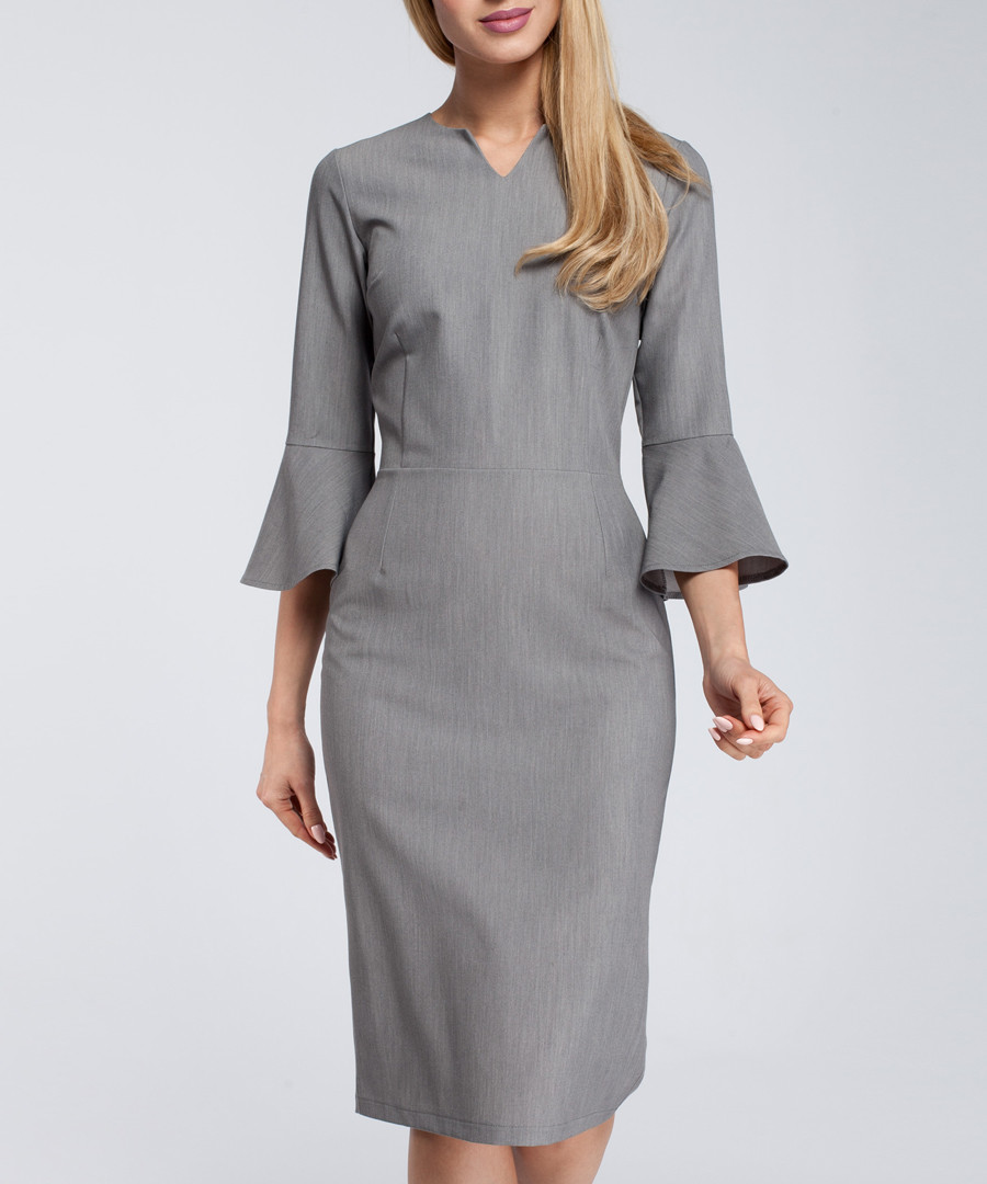 Grey bell sleeve knee-length dress Sale - made of emotion