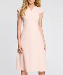 Powder cap sleeve fit & flare dress