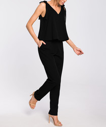 Black bow-shoulder jumpsuit