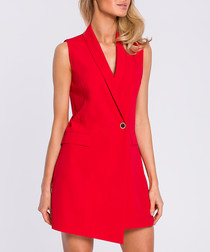 Red sleeveless tuxedo dress