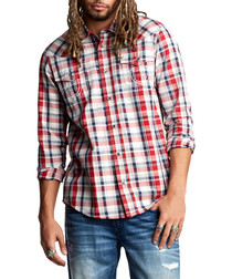 Western red check pure cotton shirt
