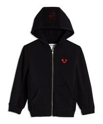 Boys' Black cotton logo hoodie