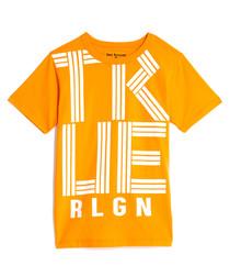 Boys' Orange pure cotton logo T-shirt