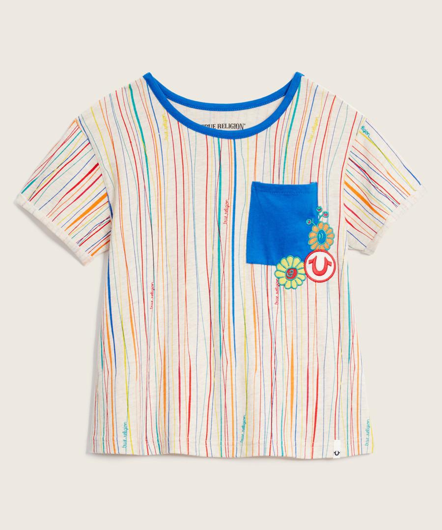 Girls' striped patch T-shirt Sale - true religion