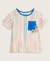 Girls' striped patch T-shirt