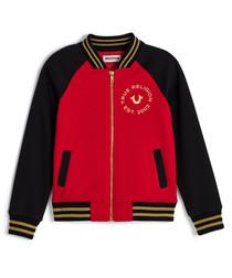 Girls' bright red logo varsity jacket