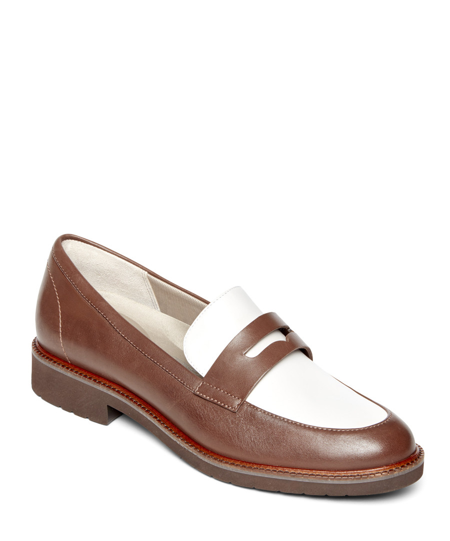 Abelle brown & white leather loafers Sale - rockport