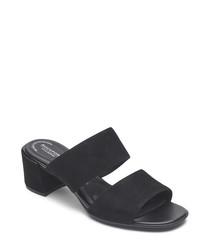 Alaina black double strap sandals