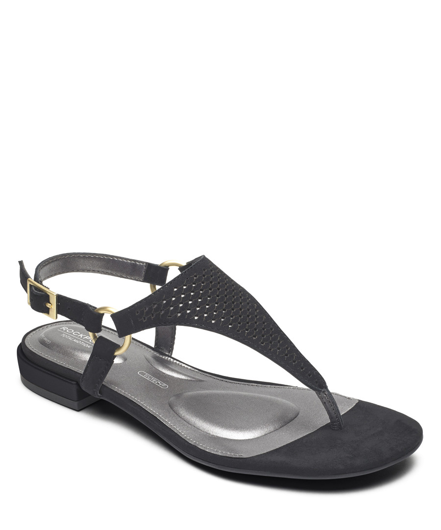 Zosia black leather Y sandals Sale - rockport