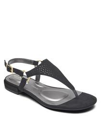 Zosia black leather Y sandals