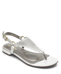 Zosia white leather Y sandals