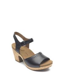 Vivianne 2 black leather sandals