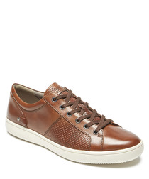 Tan leather perforated sneakers