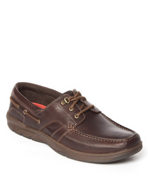Walnut leather boat shoes