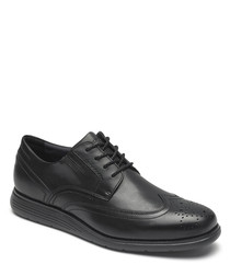 Black leather flat brogues