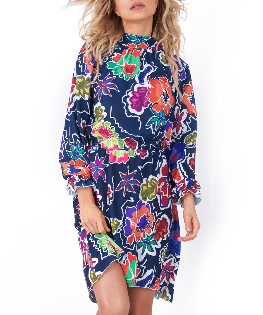 Big tropical floral print mini dress Sale - fobya