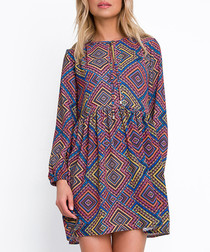 Multi boho print mini dress