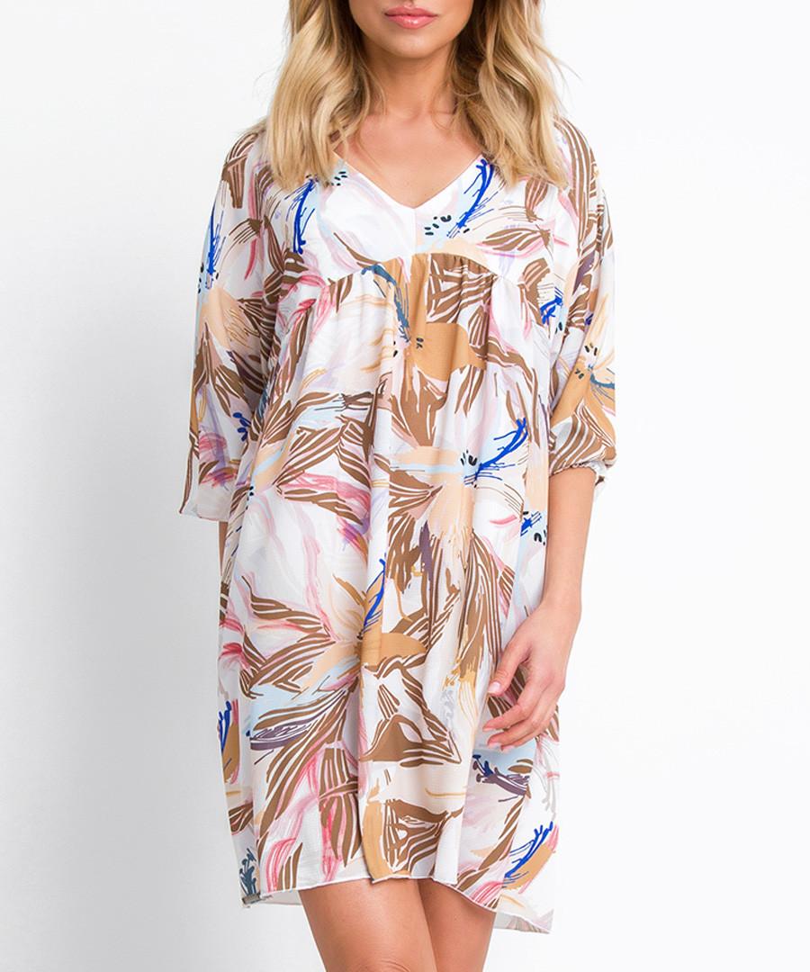 Beige floral print mini dress Sale - fobya