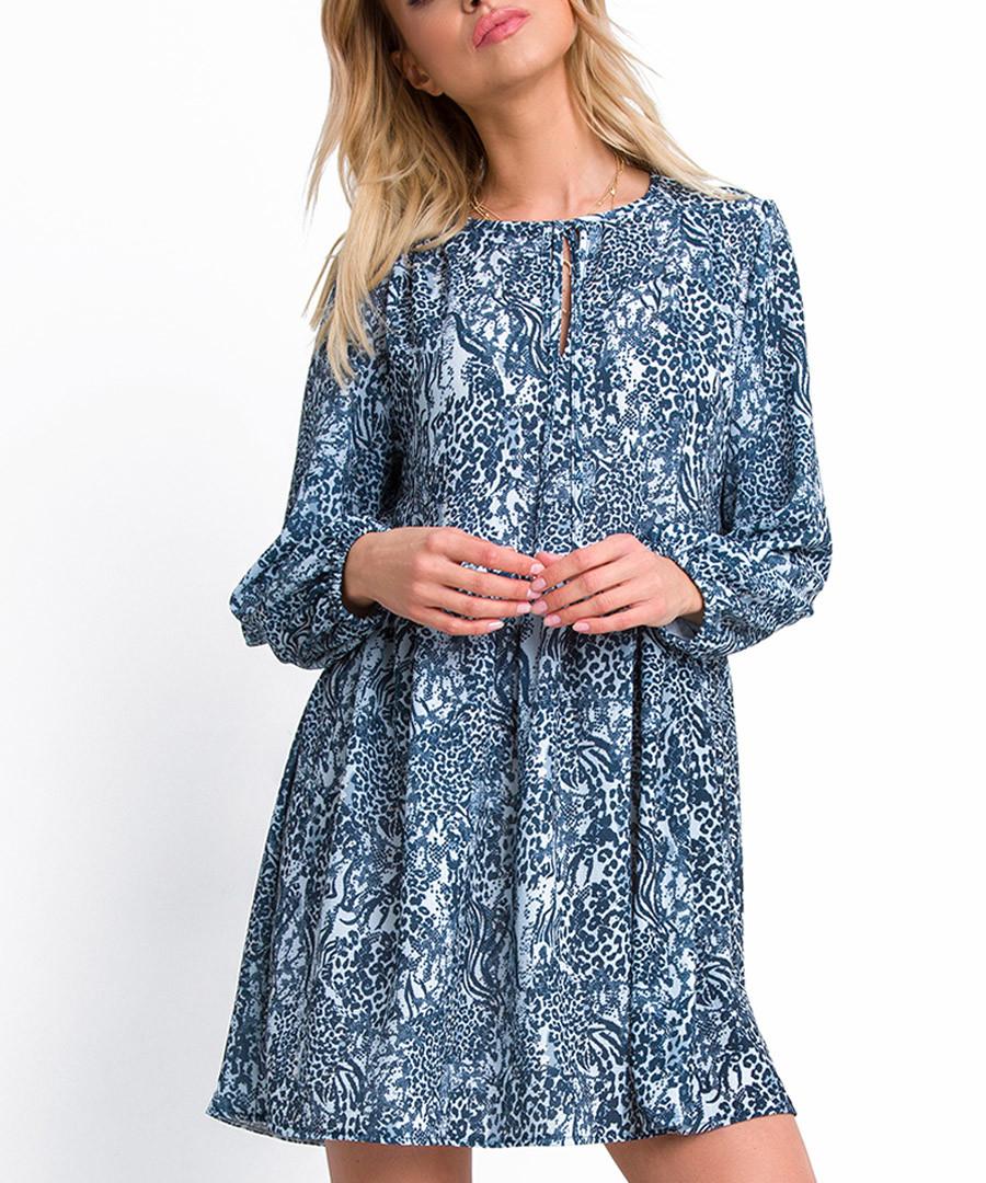 Blue print long sleeve mini dress Sale - fobya