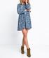 Blue print long sleeve mini dress Sale - fobya Sale