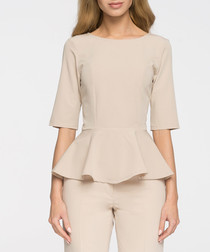 Beige fluted blouse