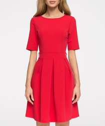 Red short sleeve pleated dress