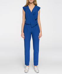 Blue wrap sleeveless jumpsuit