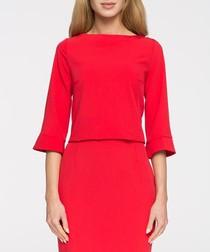 Red half sleeve minimal blouse