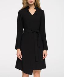 Black waist-tie wrap dress