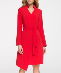 Red waist-tie wrap dress