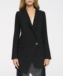 Black one-button longline blazer