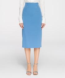 Sky blue midi pencil skirt